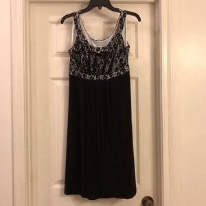 Black and white dress with lace overlay